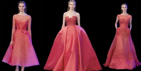 Propuestas de Elie Saab en tonos coral. Lo mejor de la alta costura
