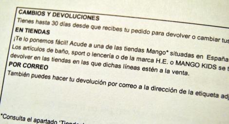 Información sobre devoluciones en envío por compra on-line en Mango