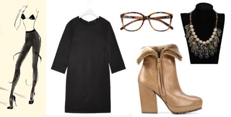 Vestido LBD maxi de COS, botines Bambi Arena de Gadea shoes, gafas carey de Zara, medias de Calzedonia y collar de Teria Yabar (Diamante Negro)