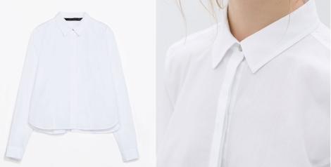 Blusa de Zara muy femenina por tener corte a la cintura, pero con el encanto del estilo masculino