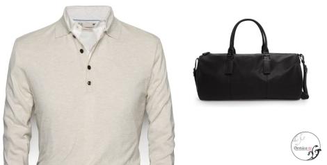 Jersey y macuto de HE by MANGO. Los cuellos abiertos con botones facilitan la combinación con camisas, camisetas y polos