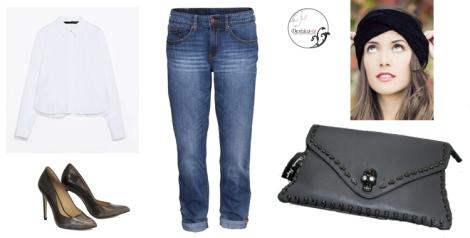 Outfit de marzo propuesto con prendas básicas y un toque rockero
