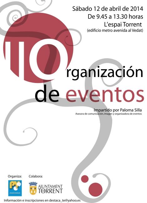Cartel del curso de organización de eventos que se celebrará en abril