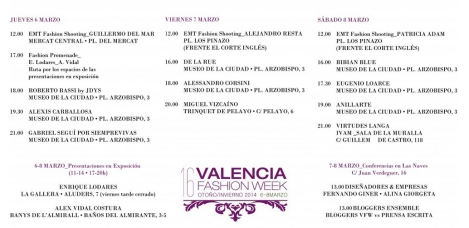 Programación Valencia Fashion Week