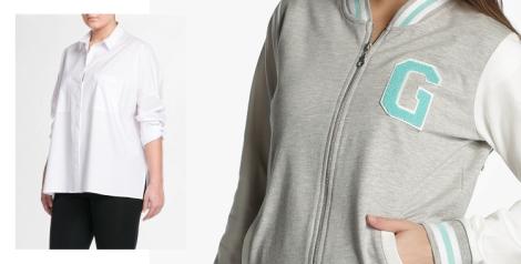 Blusa masculina de Violeta by Mango (tallas grandes) y sudadera de Green Coast (a la venta en El Corte Inglés)