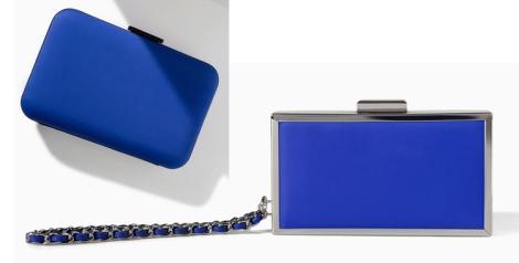 Clutch azul klein caja y bombonera de neopreno ambos de Zara