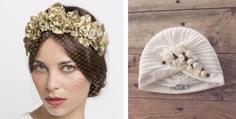 El modelo June en dorado de Ani Bürech (también disponible en plata) y turbante de Lucía Be