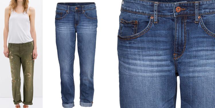Pantalones estilo boyfriend de Zara y H&M