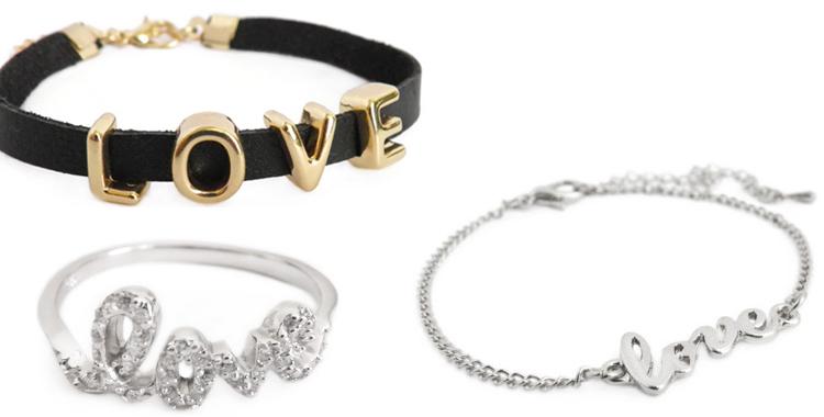 Pulseras y anillo love de Makedoonia