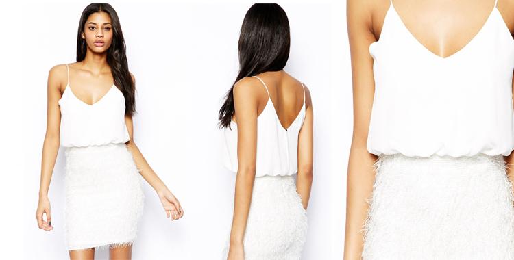 Vestido vaporoso de Asos en color blanco