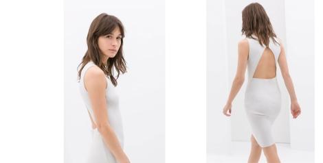 Vestido blanco ceñido de Zara con escote en la espalda