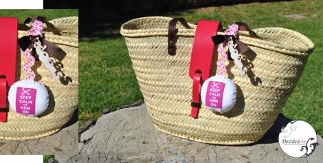 Capazo en rosa y chocolate con bola Keep Calm