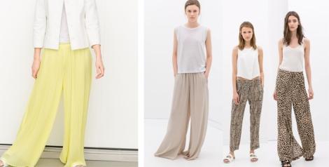 Pantalón fluido claro de Zara. Amarillo, tonos nudes y estampados animales fáciles de combinar con camisetas de sport y blusas