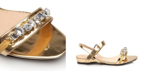 Sandalias joya de Cortefiel en dorado