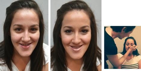 July Roselló, gerente de A contrapel, mostró a los alumnos las ventajas y los buenos resultados del maquillaje con aerógrafo. Y para muestra, el antes y el después de una de mis alumnas