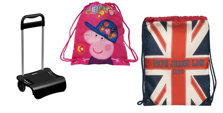 Carrito portamochilas y sacos de merienda de Pepa Pig y Pepe Jeans a la venta en El Corte Inglés