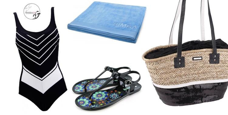Look compuesto por bolso de KBAS, bañador de Red Point, sandalias de Gioseppo y toalla de Bimba&Lola