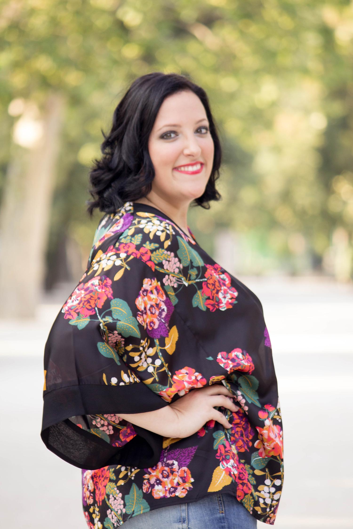 En la sesión de fotos con kimono de H&M