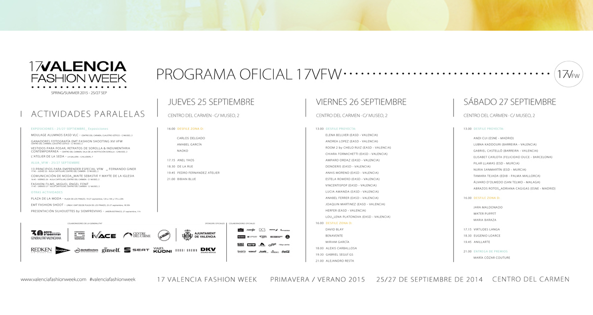 Programación de desfiles para la xvii edición de la Valencia Fashion Week