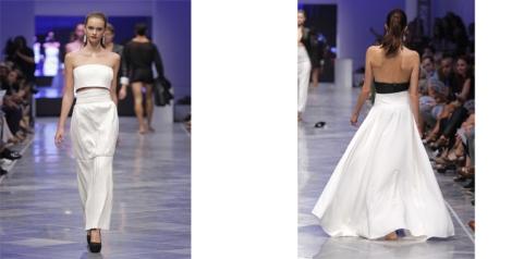 Dos modelos de falda de Virtudes Langa. Con volumen y vuelo, o sin él. Faldas maxi que se combinan con mini tops