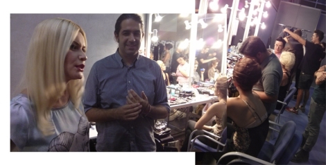 Hablando con Maya Hansen en el backstage, acompañada de su marido