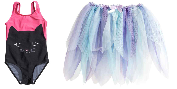 Una dulce bailarina que en Halloween dará mucho miedo. Conjunto formado por falda de tul y bañador con gato negro de H&M