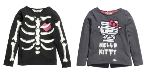 Camiseta esqueleto y Hello Kity momia sudaderas H&M