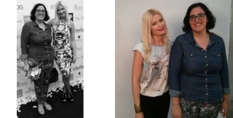 Con Maya Hansen en el backstage y en el photocall tras el desfile con uno de los vestidos de Birth