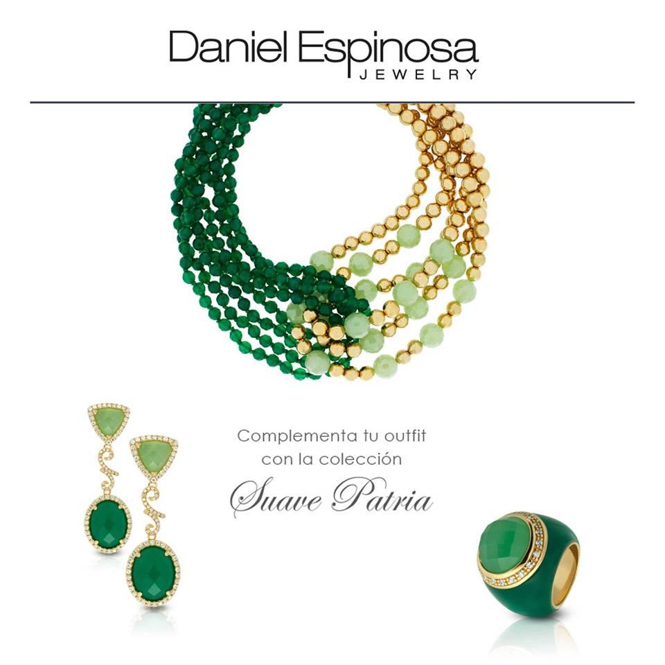 Pendientes, collar y anillo de la colección Suave Patria de Daniel Espinosa