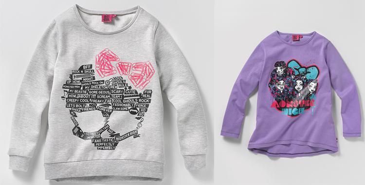 Sudadera de calavera y otra de las Monster High. De venta en El Corte Inglés para este Halloween