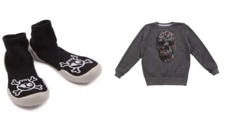 Zapatillas pirata y sudadera calavera de Smallable