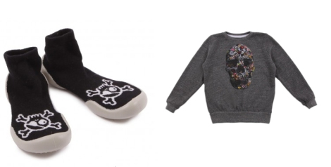 Zapatillas pirata y sudadera calavera de Smallable