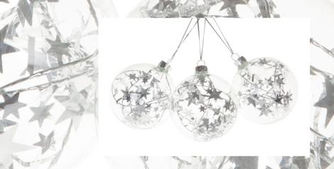 Bolas transparentes con estrellas plateadas de Zara Home