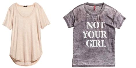 Camisetas manga corta de H&M. Dos propuestas diferentes. Precios: 14.99 y 12.99 euros
