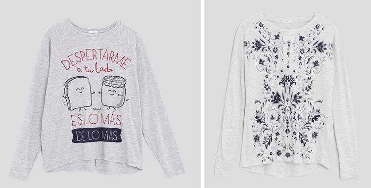 Camiseta de Mr. Wonderful para Oysho y otro modelo floral colección propia de la firma de ropa interior. Precio de ambas: 15.99 euros