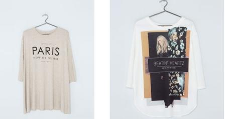 Camisetas de Bershka. La primera con vuelo. Ambos modelos amplios. Precio: 14.99 y 15.99 euros