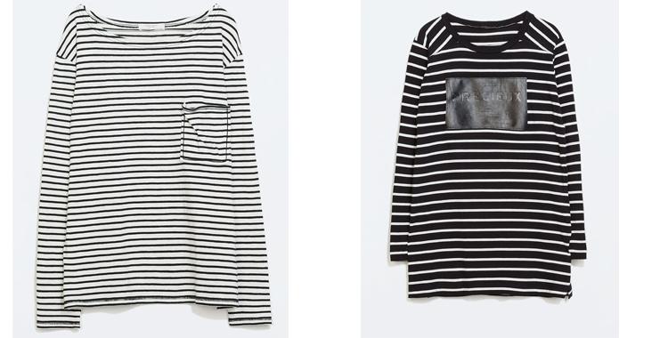 A rayas. Camisetas de Zara. Dos propuestas para llevar un look de aire marinero. Precios: 15.95 y 17.95 euros