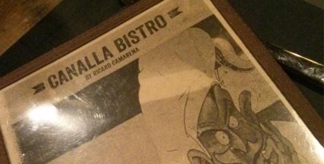 Detalle de la carta de vinos de Canalla Bistro