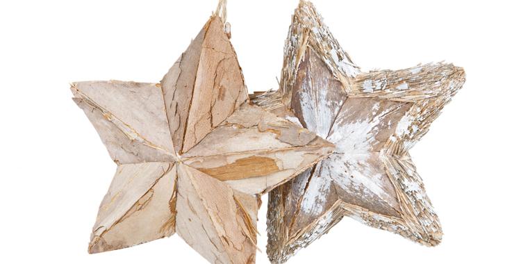 Estrellas de madera efecto nevado de Zara Home