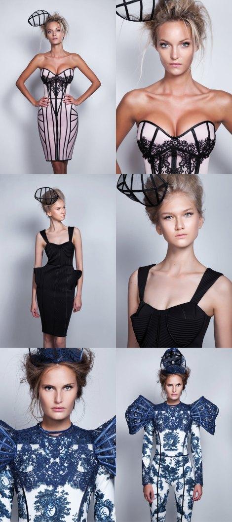 Fondo de la web oficial de Maya Hansen con prendas de la colección Birth que presentó en Iberflora Valencia tras la Mercedes Fashion Week de Madrid