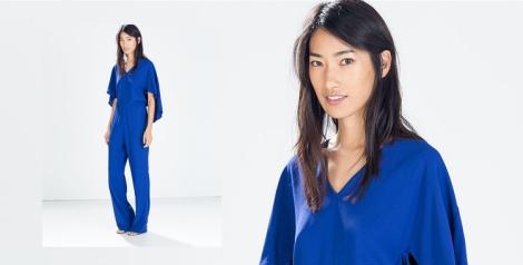 Mono holgado y manga japonesa azul Klein de Zara