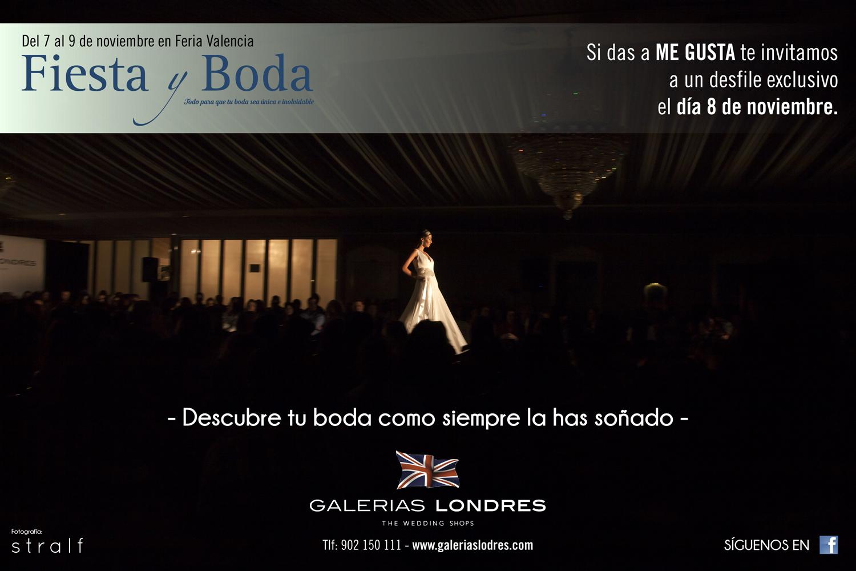 Imagen promocional del desfile de vestidos de novia y ceremonia organizado por Galerías Londres dentro de la programación de la feria nupcial que llega esta semana a  Valencia