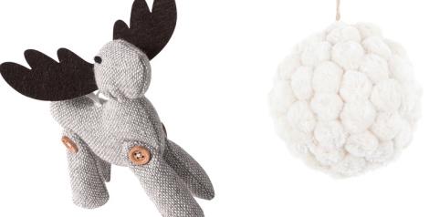 Reno tipo handmade de El Corte Inglés y bola pompón de fieltro en color blanco crudo de Zara Home