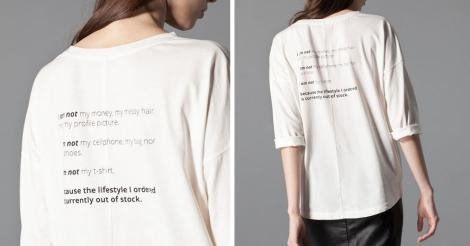 Camiseta con texto de Stradivarius. Precio: 7.95 euros