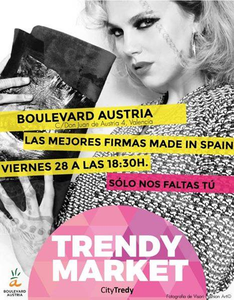 Cartel oficial del Trendy Market en Boulevard Austria con producto español