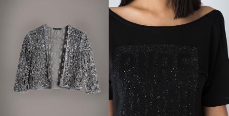 Chaqueta de lentejuelas y camiseta, para un look más informal, de Bershka