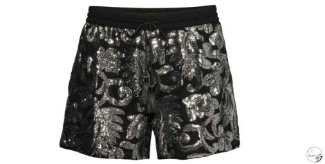 Short de H&M en negro y plata