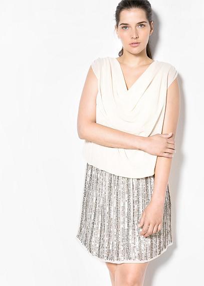 Vestido tipo blusa y falda con lentejuelas de Violeta  by Mango