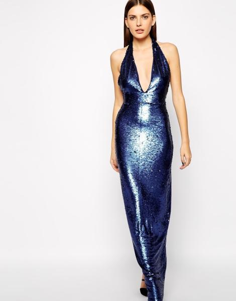 Impresionante vestido azul de Marina AQ AQ a la venta en Asos