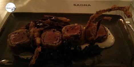 Atún en tempura de alga nori
